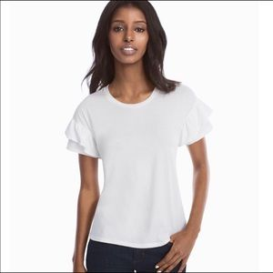 Tops - White TShirt with Frills Size S NEW